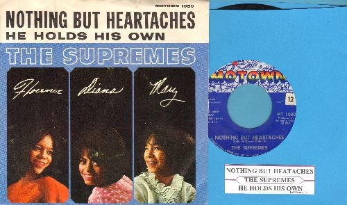 Supremes - Nothing But Heartaches/He Holds His Own (with juke box label and picture sleeve) - NM9/EX8 - 45 rpm Records
