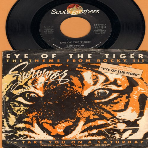 Survivor - Eye Of The Tiger (Theme from 'Rocky III)/Take You On A Saturday (with picture sleeve) - NM9/VG7 - 45 rpm Records