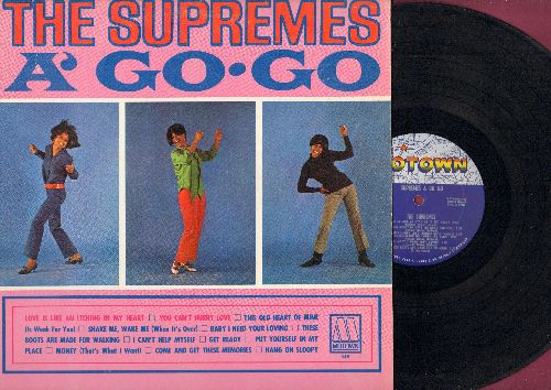 Supremes - Supremes A Go Go: You Can't Hurry Love, Baby I Need Your Loving, I Can't Help Myself, These Boots Are Made For Walking, Hang On Sloopy (Vinyl MONO LP record) - VG7/VG6 - LP Records