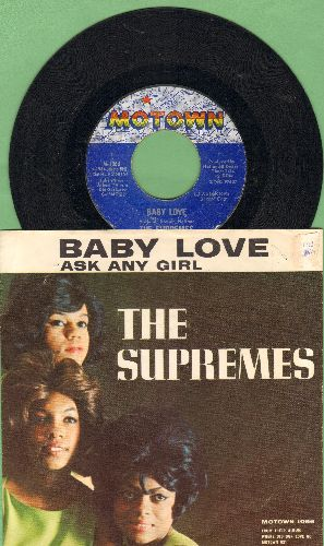 Supremes - Baby Love/Ask Any Girl (with picture sleeve) - EX8/VG7 - 45 rpm Records