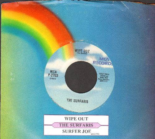 Surfaris - Wipe Out/Surfer Joe (re-issue with juke box label and MCA company sleeve) - NM9/ - 45 rpm Records