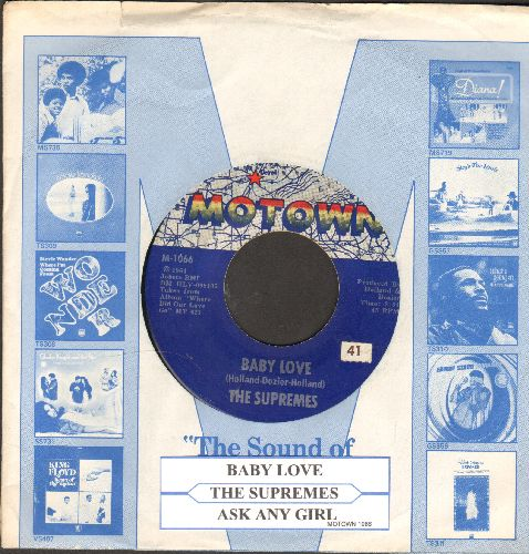 Supremes - Baby Love/Ask Any Girl (with juke box label and Motown company sleeve) - EX8/ - 45 rpm Records