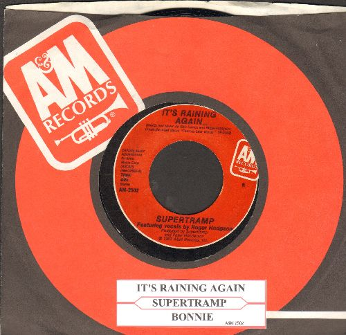 Supertramp - It's Raining Again/Bonnie (with juke box label and A&M company sleeve) - NM9/ - 45 rpm Records