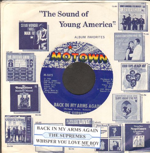Supremes - Back In My Arms Again/Whisper You Love Me Boy (with Motown company sleeve and juke box label) - NM9/ - 45 rpm Records