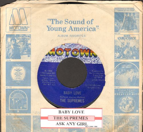 Supremes - Baby Love/Ask Any Girl (with juke box label and Motown company sleeve) - NM9/ - 45 rpm Records