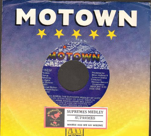 Supremes - Supremes Medley/Where Did We Go Wrong (with juke box label and Motown company sleeve) - NM9/ - 45 rpm Records