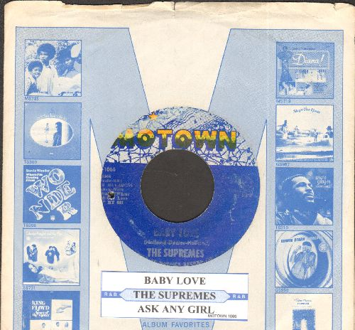 Supremes - Baby Love/Ask Any Girl (with juke box label and Motown company sleeve)(bb) - EX8/ - 45 rpm Records