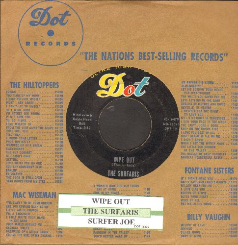 Surfaris - Wipe Out/Surfer Joe (with juke box label and  vintage Dot company sleeve) - EX8/ - 45 rpm Records