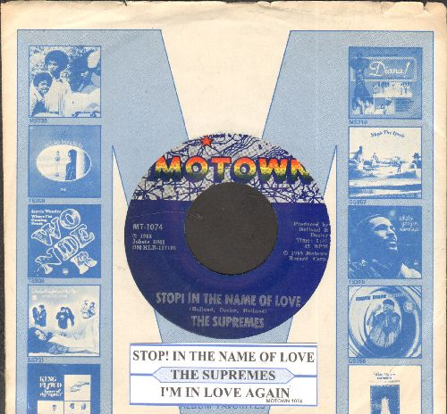 Supremes - Stop! In The Name Of Love/I'm In Love Again (with juke box label and Motown company sleeve) - EX8/ - 45 rpm Records