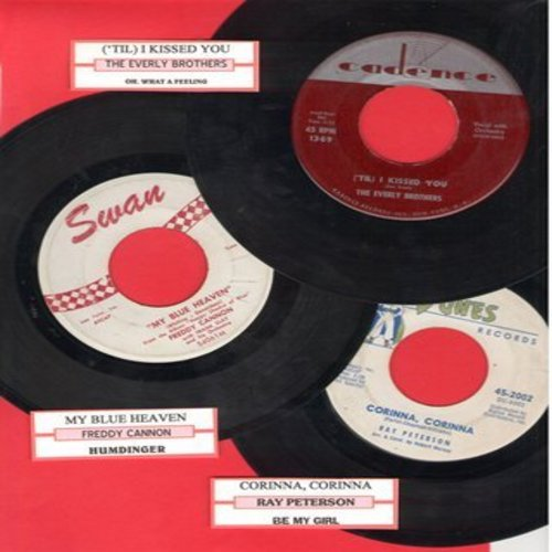 Cannon, Freddy, Everly Brothers, Ray Peterson - Vintage Rock & Roll Love Ballads 3-Pack with juke box labels. Hits include My Blue Hevaen, Corinna Corinna and 'Til I Kissed You. (Shipped in plain white paper sleeves) - EX8/ - 45 rpm Records