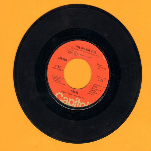 Sweet - Fox On The Run/Burn On The Flame (with juke box label) - EX8/ - 45 rpm Records