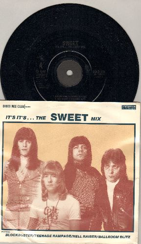 Sweet - It's It's…The Sweet Mix/Fox On The Run (British Pressing with picture cover, small spindle hole) - NM9/VG7 - 45 rpm Records