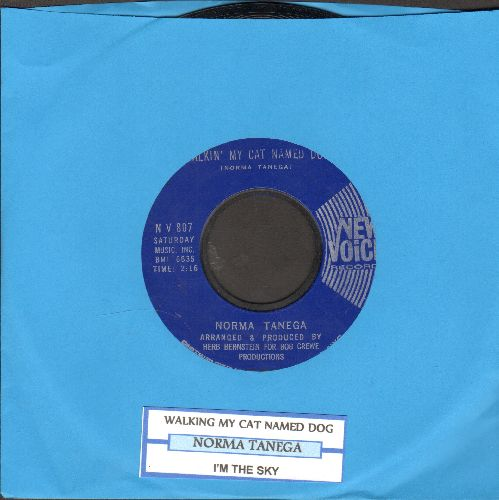 Tanega, Norma - Walkin' My Cat Named Dog/I'm The Sky (solid blue label with juke box label) - NM9/ - 45 rpm Records