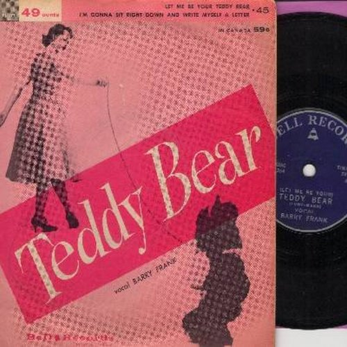 Frank, Barry - Teddy Bear (contemporary cover version of the Elvis Presley hit)/I'm Gonna Sit Right Down And Write Myself A Letter (45rpm record with small spindle hole, with picture sleeve) - EX8/VG7 - 45 rpm Records