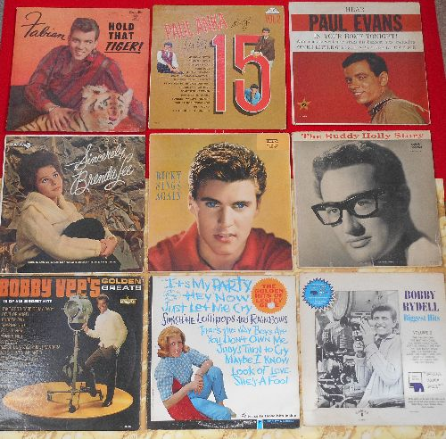 LP Covers Perfect Square - Perfect Square of 9 Vintage LP covers - Teen Idol Theme. VERY NICE for decorating a Party Room or for a Themed Event. Covers have NO records! - VG7/ - Supplies