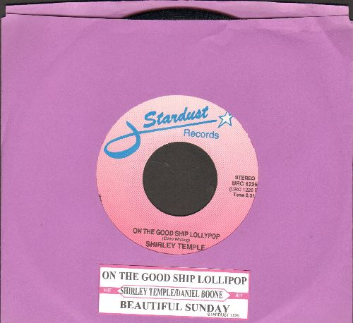 Temple, Shirley - On The Good Ship Lollipop (Shirley Temple's Signature Song!)/Beautiful Sunday (by Daniel Boone on flip side) (re-issue with juke box label) - NM9/ - 45 rpm Records