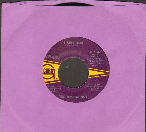 Temptations - I Need You/You've Got My Soul On Fire - NM9/ - 45 rpm Records