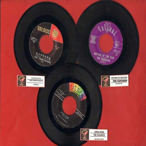 Cascades, Elegants, Temptations - Vintage Doo-Wop 3-pack with juke box labels. Hits include Barbara, Little Star and Rhythm Of The Rain. NICE set for a juke box! - EX8/ - 45 rpm Records