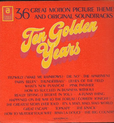 Caiola, Al, Count Basie, John Barry, Elmer Bernstein, others - 36 Great Motion Picture Themes And Original Soundtracks - Ten Golden Years: The Magnificent Seven, James Bond Theme, Pink Panther (2 vinyl STEREO LP records, gate-fold cover) - NM9/EX8 - LP Re