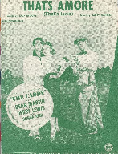 Martin, Dean - That's Amore - Vintage SHEET MUSIC for the Dean Martin Classic featured in film -The Caddy- (cover art features Martin & Lewis with Donna Reed, NICE condition!) - NM9/ - 45 rpm Records