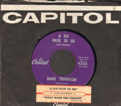 Thompson, Hank - A Six Pack To Go/What Made Her Change (with juke box label and vintage Capitol company sleeve) - NM9/ - 45 rpm Records