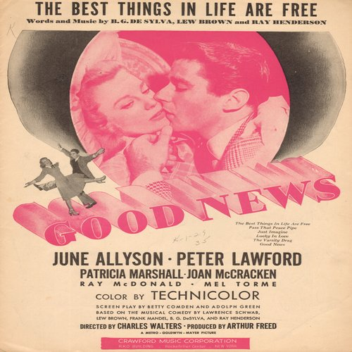 Allyson, June - The Best Things In Life Are Free - Vintage SHEET MUSIC for the song featured in flim -Good News- starring June Allyson and Peter Lawford (NICE cover art!) - EX8/ - Sheet Music
