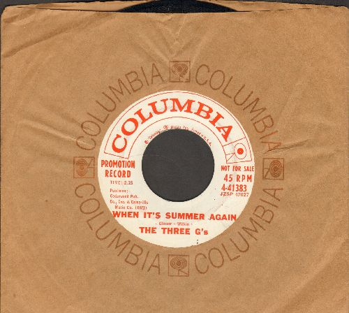 Three G's - When It's Summer Again/Oh, Suzette! (DJ advance pressing with vintage Columbia company sleeve) - NM9/ - 45 rpm Records