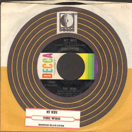 Who - My Wife/Behind Blue Eyes (with Decca company sleeve and juke box label) - EX8/ - 45 rpm Records