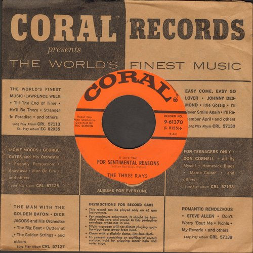 Three Rays - (I Love You) For Sentimental Reasons/The Wallflower (with Coral company sleeve) - EX8/ - 45 rpm Records