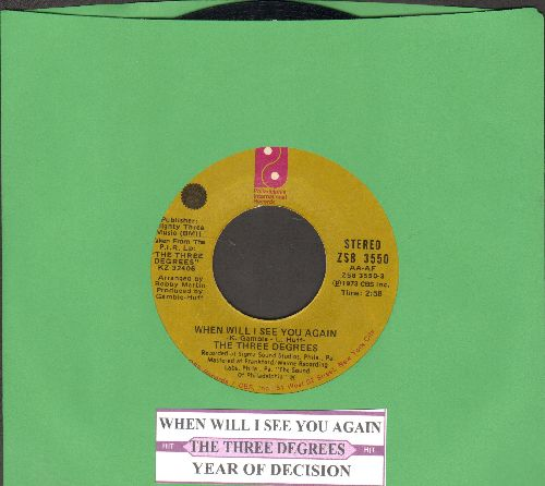 Three Degrees - When Will I See You Again/Year Of Decision (juke box label) - VG7/ - 45 rpm Records