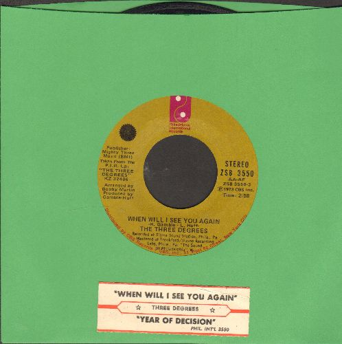 Three Degrees - When Will I See You Again/Year Of Decision (with juke box label) - NM9/ - 45 rpm Records