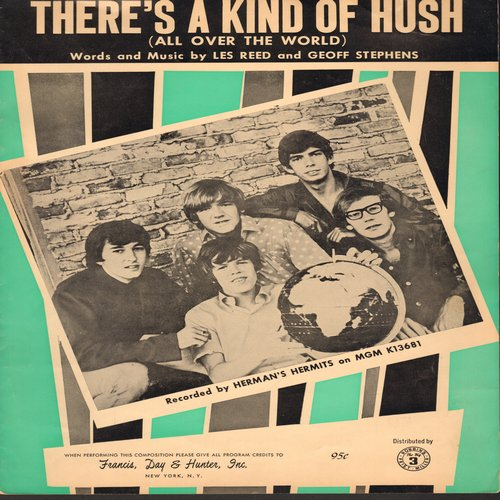 Herman's Hermits - There's A Kind Of Hush (All Over The World) - SHEET Music for the Hit by Herman's Hermits, NICE cover are of the British Invasion Group!  (This is SHEET MUSIC, not any other kind of media!) - EX8/ - Sheet Music