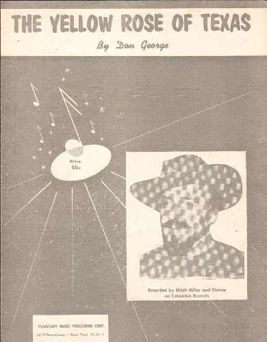 Miller, Mitch - The Yellow Rose Of Texas - SHEET MUSIC for the sing-along Classic by Mitch Miller & The Gang - EX8/ - Sheet Music