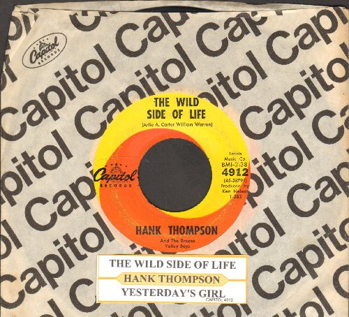 Thompson, Hank - The Wild Side Of Life/Yesterday's Girl (with juke box label and vintage Capitol company sleeve) - NM9/ - 45 rpm Records