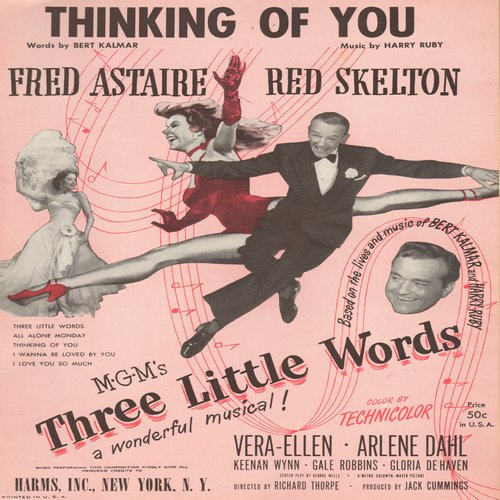 Astaire, Fred - Thinking Of You - Vintage SHEET MUSIC for the song featured in MGM film -Three Little Words- starring Fred Astaire, Red Skelton and Vera Ellen - EX8/ - Sheet Music