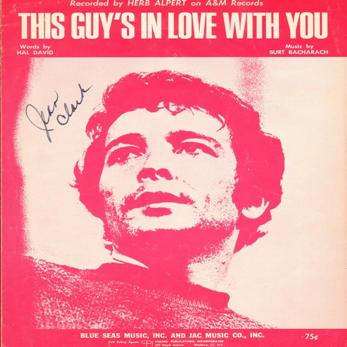 Alpert, Herb - This Guy's In Love With You - SHEET MUSIC for the Herb Alpert Hit (minor woc) - VG7/ - Sheet Music