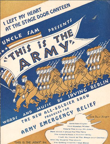 Berlin, Irving - I Left My Heart At The Stage Door Canteen - vintage SHEET MUSIC for song featured in -This Is The Army Now- - EX8/ - Sheet Music