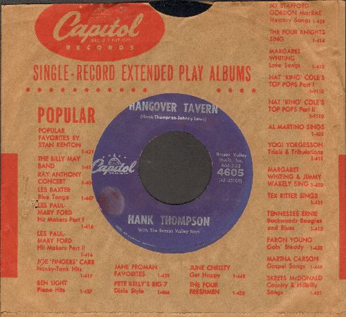 Thompson, Hank - Hangover Tavern/Give The World A Smile 9with vintage Capitol company sleeve) - NM9/ - 45 rpm Records