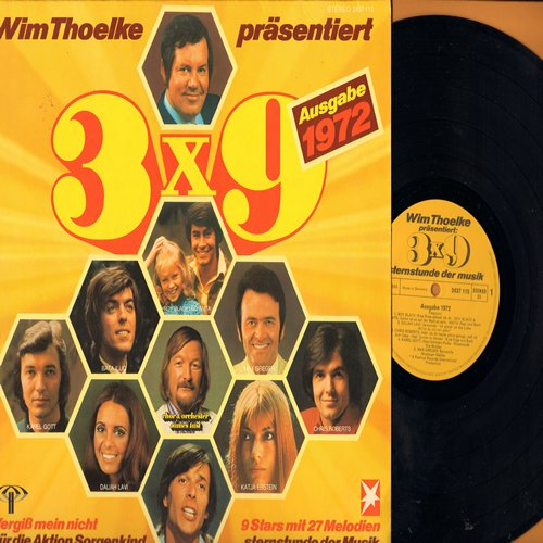 Black, Roy, Anita, Daliah Lavi, Chris Roberts, Bata Illic, others - Wim Thoelke Praesentiert 3 X 9 (Ausgabe 1972) - 9 Stars mit 27 Melodien (Vinyl STEREO LP record, German Pressing, sung in German) - NM9/EX8 - LP Records