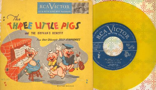 Disney - The Three Little Pigs/The Orphan's Benefit (RARE Yellow Vinyl with gate-fold picture-cover) - EX8/VG7 - 45 rpm Records