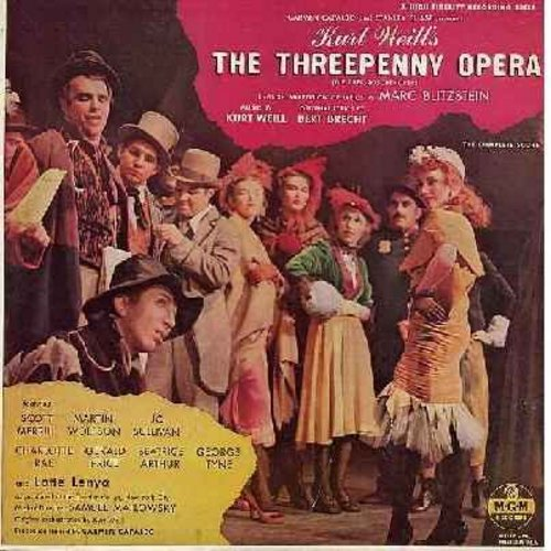Three Penny Opera - The Three Penny Opera - Original Broadway Cast Recording starring Scott Merill as Mack The Knife and Jo Sullivan as Polly Peachum - EX8/VG7 - LP Records