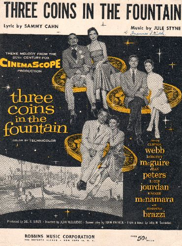 Three Coins In A Fountain - Three Coins In A Fountain - SHEET MUSIC for the theme from movie of same title. BEAUTIFUL cover art, suitable for framing! - EX8/ - Sheet Music