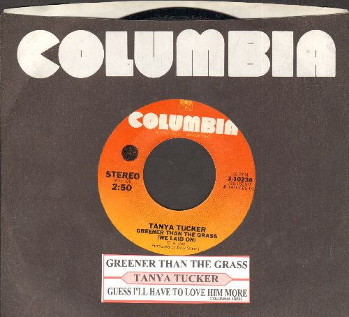 Tucker, Tanya - Greener Than The Grass (We Laid On)/Guess I'll Have To Love Him More (with juke box label and Columbia company sleeve) - NM9/ - 45 rpm Records