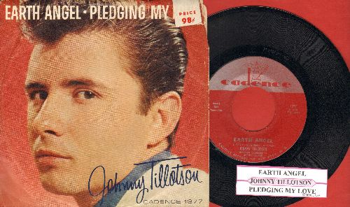Tillotson, Johnny - Earth Angel/Pledging My Love (with RARE picture sleeve and juke box label)(sos) - NM9/VG7 - 45 rpm Records