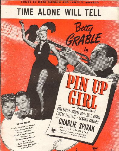 Grable, Betty - Time Alone Will Tell - Vintage SHEET MUSIC for the song features in film -Pin Up Girl-, NICE cover art featuring Star Betty Grable, suitable for framing! - EX8/ - Sheet Music