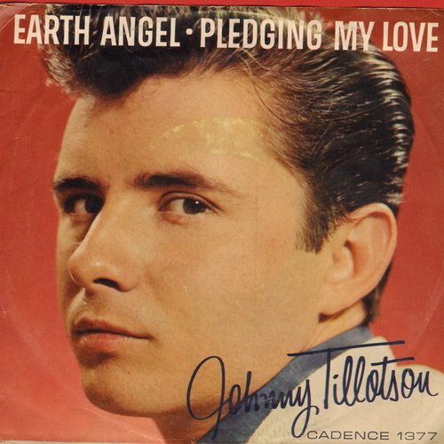 Tillotson, Johnny - Earth Angel/Pledging My Love (with RARE picture sleeve and juke box label, NICE condition!) - NM9/EX8 - 45 rpm Records