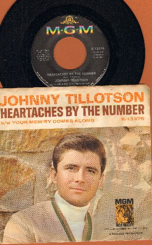 Tillotson, Johnny - Heartaches By The Number (Ich zaehle taeglich meine Sorgen)/Your Mem'ry Comes Along (with picture sleeve) - EX8/VG7 - 45 rpm Records