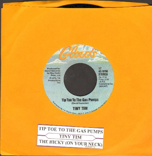 Tiny Tim - Tip Toe To The Gas Pumps (RARE NOVELTY inspired by the 1970s gasoline crisis)/The Hickey (On Your Neck) (with juke box label and ompany sleeve) - NM9/ - 45 rpm Records