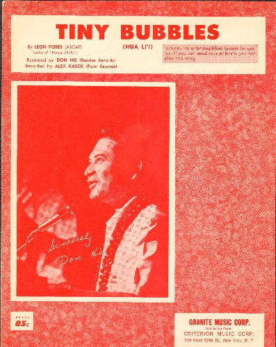 Ho, Don - Tiny Bubbles - Vintage SHEET MUSIC for Don Ho's Signature Song, NICE cover portrait of the legendary Hawaiian singer! - EX8/ - Sheet Music