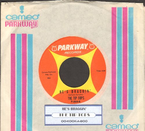 Tip Tops - Oo-Kook-A-Boo (Means I Love You)/He's Braggin' (with RARE vintage Parkway company sleeve and juke box label) - EX8/ - 45 rpm Records